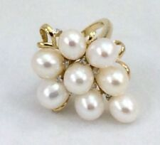 New 14k Yellow Gold 8 Pearl & Diamond Grape Cluster Ring For Wine Lover! 6 & 7