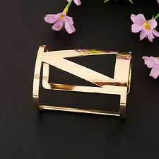 Women Punk Style Cuff Bangle Gold Plated Geometry Hollow Metal Bracelet Charming