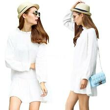 Sexy Women's Ruffled Collar Wide Hem Long Sleeves Casual Loose Dress White 8AK5
