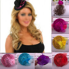 Mini Feather Hat Cap Lace Fascinator Hair Clip Costume Accessory Cocktail Party