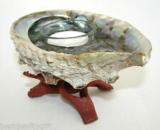 SCENTED GENUINE ABALONE SHELL REUSABLE TEA-LIGHT CANDLE HOLDER+ TRIPOD STAND