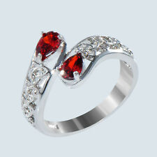 10KT White Gold Filled Hollow Out Engagement Ring Sz 7-10 Pear Cut Red Ruby Gem