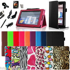 Kindle Fire PU leather Folio Case Cover/Car Charger/USB Cable/Stylus/Protector