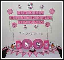 ** HELLO KITTY PERSONALISED Girl Pink Birthday Party Decorations Scene Setter **