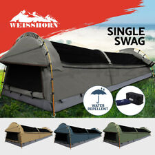 King Single Swag Weisshorn Camping Swags Canvas Tent Deluxe Aluminum 3 Poles Bag