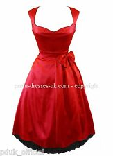 New Rockabilly Red Black Satin Swing Vintage Party Cocktail Prom Dress 8-14
