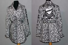 ED HARDY Black White Snake Print Belt Appliqued Rhinestones Trench Coat Wms NWT