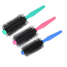 Plastic Handle Round Barbers Salon Styling Radial Hair Brush Comb 2Pcs