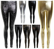 New Ladies Shiny Sexy Wet Look Skinny Slim Animal Print Women's Leggings 8-14