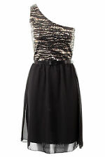 Ladies One Shoulder Evening Sequin Chiffon Belted Womens Party Dress Size 8 -14