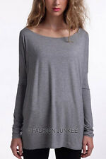 GREY 51 BAMBOO PIKO TOP Off the Shoulder Loose Shirt Tunic Long Sleeve NEW S M L