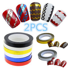 2PCS Hot Waves Striping Nail Stickers Roll DIY Tape Line Nail Art Tips Decals
