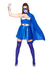 Blue Silver Ladies Fancy Dress Comic Book Hot Super Hero Adult Womens Costume