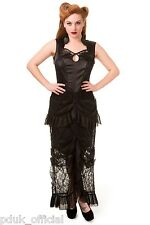 Dark Romantic Banned Victorian Black Goth Ruffle Lace Satin Dress Plus Size 8-22