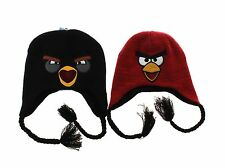 Angry Birds Red or Black Bomb Reversible Winter Peruvian Beanie Hat - One Size