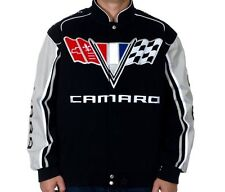 Camaro Racing Jacket Embroidered Logos Black&Gray Cotton Twill BY JH Design SALE