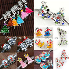XMAS Christmas Tree Sock Snowman Enamel Crystal European Charm Bead fit Bracelet