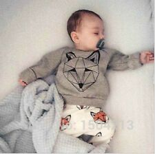 2PCS baby Boys Cotton Tops + pants outfits & Sets kid Boys Clothing Wolf