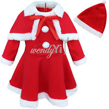 Baby Girl Kid Christmas Santa Claus Party Costume Top Dress + Shawl + Hat Outfit