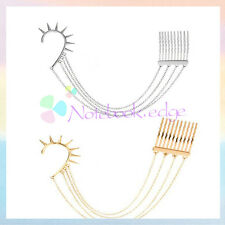 Gothic Spike Rivet Ear Cuff Earrings Hair Comb Fringe Chain Band Silver Golden