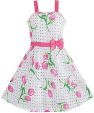 Sunny Fashion Girls Dress Pink Flower Green Leaves Black Dot Bow Tie Size 4-12