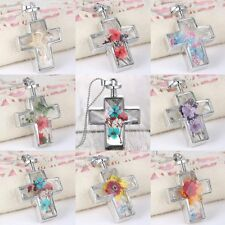 Natural Dried Flower Silver Cross Glass Pendant Necklace Bead Chain Jewelry Gift