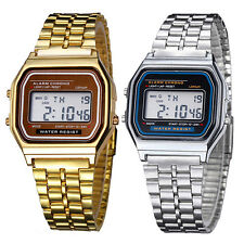 Men Women Dedicated Noble Chic Stainless Steel LCD Digital Stopwatch Wrist Watch