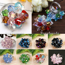 Fashion Twist Crystal Glass Faceted Bead us6 Finger Ring Jewelry Gift 7 Colors