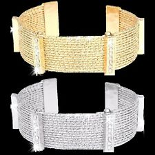 15 Line Diamond Cut Pave Crystal Cleopatra Bangle Cuff Bracelet Gold OR Silver