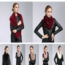 New Style Women Winter Warm Infinity 2 Circle Soft Faux Fur Cowl Neck Long Scarf