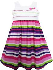 Girls Dress Purple Green White Striped A-Line Girls Dresses Size 3-8