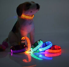 NEW Leopard Pet Cat Dog LED Light Flashing Collar Night Safety Nylon Neck Collar