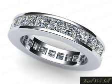 4.60Ct Princess Cut Diamond Classic Channel Anniversary Eternity Band Ring 18K