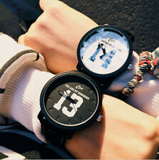 Number Couple Leather Stainless Steel Watch Quartz Analog Wrist Watch Lover Gift
