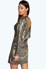 Boohoo Womens Harley Cowl Back Sequin Shift Dress