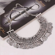 Chunky Vintage Coins Pendant Beads Choker Statement Bib Chain Collar Necklace