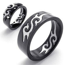 Removable Mens Silver Black Tone Titanium Stainless Steel Dragon Puzzle Ring