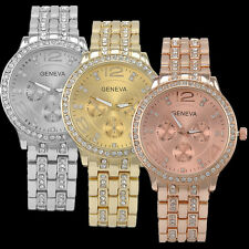 Fashion Women Lady Luxury Crystal Rhinestone Watch Dial Steel Quartz Wrist Watch