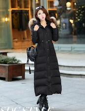 Womens Winter 90% Duck Down Huge Real Fur Long Jacket Thick Warm Parka Coat Size