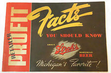 1942 VINTAGE STROH'S BOHEMIAN BEER STORE RETAILERS ADVERTISING FACTS SALES BOOK