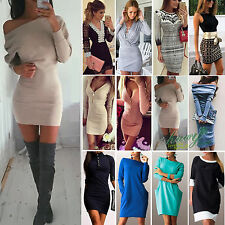 Womens V neck Bodycon Casual Mini Sheath Pencil Dresses Party Cocktail Gown 6-16