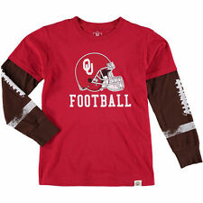 Youth Wes & Willy Crimson Oklahoma Sooners Football Fooler Long Sleeve T-Shirt