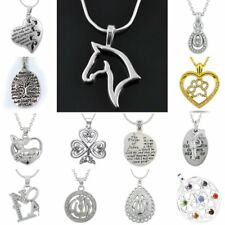 Retro Letter Silver Tone Animal Horse Heart Handmade Religious Necklace Pendant