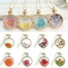 Natural Dried Flower Inside Round Glass Locket Necklace Women Long Sweater Chain