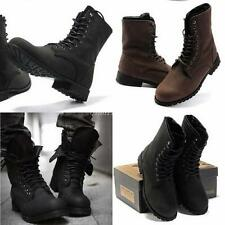 Military Winter Men's NEW Fashionable Retro Combat Boots Short Black Shoes Size