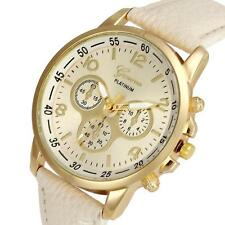 Luxury Geneva Womens Mens Unisex Watches Faux Leather Analog Quartz Wrist Watch
