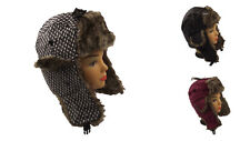 New Chunky Knitted Trapper Hat with Faux Fur Trim. One Size, Winter Ski hat