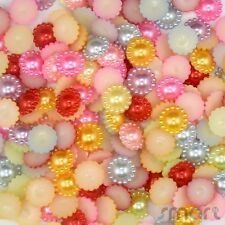 50/400pcs Resin Mixed Pearl Flower Bead Flatback DIY Embellish Craft Scrapbook