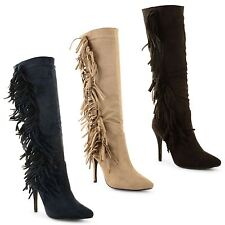 Ladies Womens Tassel Faux Suede Pointed Toe Stiletto Heel Knee Length Boots Size