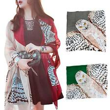 Women Owl Print Scarf Winter Neck Warm Soft Stole Wrap Shawl Pashmina U7SA